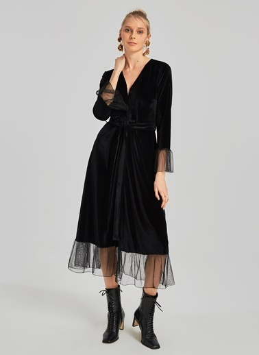 People By Fabrika Tül Detaylı Kadife Gömlek Elbise Siyah